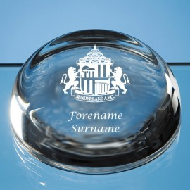 Sunderland AFC Crest Optical Crystal Flat Top Dome Paperweight
